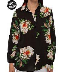 blusa dos botones negro gouache plusize