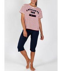 pyjama's / nachthemden admas laten we naar het strand gaan rode t-shirt pyjamabroek adma's