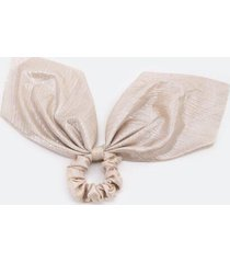 cait ribbed metallic pony scarf - champagne