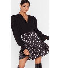 womens high-waisted dalmatian print mini skirt with zip closure - black