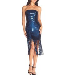 women's dress the population jeanette sequin strapless dress, size x-small - blue