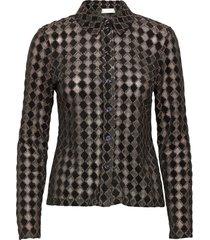 nevena, 1030 jersey lurex burnout overhemd met lange mouwen zwart stine goya