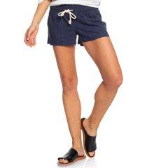 women's roxy 'oceanside' linen blend shorts, size large - blue