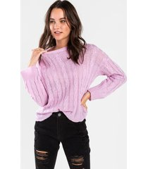 aleena cable knit sweater - lavender