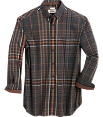 joseph abboud gray and brown plaid cotton & cashmere classic fit sport shirt