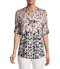 geometric button-down shirt