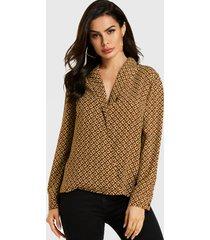 yoins blusa de manga larga con cuello de pico geométrico marrón