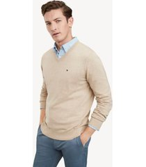 tommy hilfiger men's essential v-neck sweater semolina heather - l