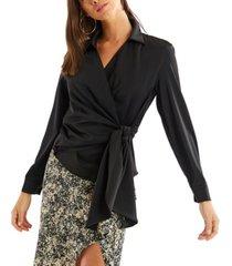 allison new york women's faux wrap blouse