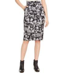 marella belted tropical scene-print skirt