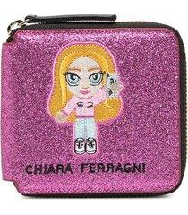 chiara ferragni embroidered patch detail purse - pink