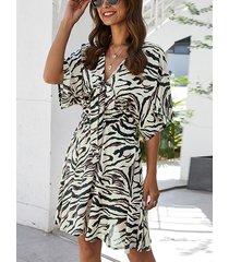 bowknot zebra stripe v-cuello de manga corta vestido de cintura elástica