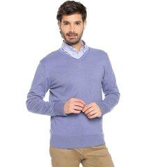 sweater azul 8 preppy m/l c/v tejido delgado