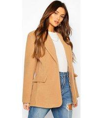 luxe brushed wool look oversized blazer coat, camel