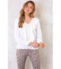 elastieken embroidery blouse wit