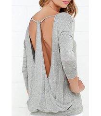 camiseta gris de manga larga con espalda baja drop it