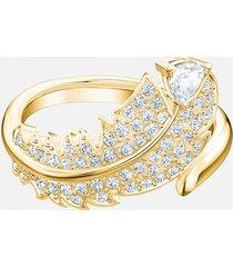 anillo con motivo nice, blanco, baño en tono oro 5515384