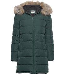 long puffer gevoerde lange jas groen wrangler