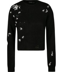 dsquared2 crystal embellished knit sweater