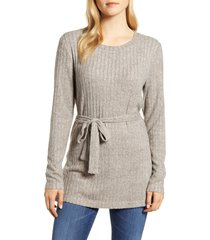 women's bobeau ribbed knit cozy belted top