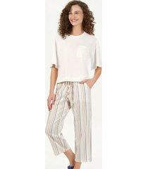 pijama curto calça midi listras 12724 cor com amor