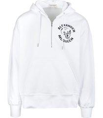 alexander mcqueen man white skull logo hoodie with half zip