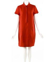 loro piana red linen short sleeve knee length shirt dress red sz: m