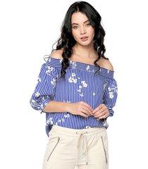 blusa azul-blanco nautica