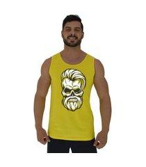 regata clássica masculina alto conceito stylish skull amarelo
