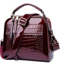 coccodrillo in pelle verniciata modello borsa a tracolla solid leisure crossbody borsa