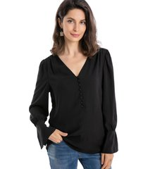 blusa botones negro nicopoly
