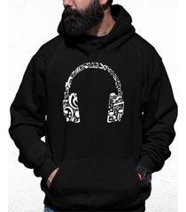 men's music note headphones word art hooded sweatshirt