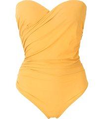 amir slama draped bandeau one-piece - yellow