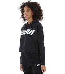 blusão com capuz puma modern sports - feminino - preto