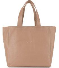 agnès b. embroidered-logo tote bag - brown