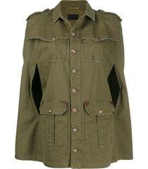 saint laurent cape-style military jacket - green