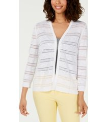 charter club pointelle-striped cardigan, created for macy's