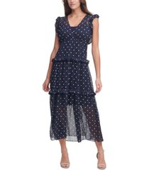 tommy hilfiger weekend dot-print maxi dress
