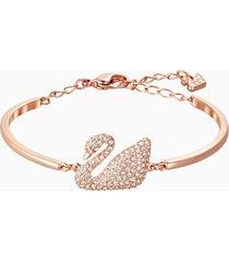 bracciale rigido swan, bianco, placcato oro rosa
