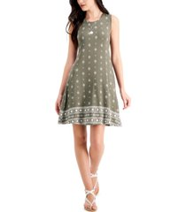 style & co petite border-print flip-flop dress, created for macy's