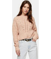 pink textured pointelle knitted sweater - pink