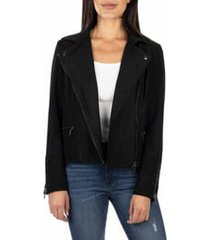women's kut from the kloth faux suede eveline jacket, size x-large - black