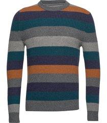 pullover, crew neck, stripe stickad tröja m. rund krage multi/mönstrad marc o'polo