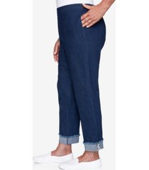 women's missy denim friendly ankle cuff pants with boucle trim