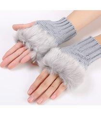 donna guanti pesante in maglia calda senza dita in peli artificiali di coniglio