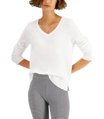 style & co solid v-neck sweater, created for macy's