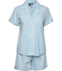 lrl shorts sl. notch collar boxer pj pyjama blauw lauren ralph lauren homewear