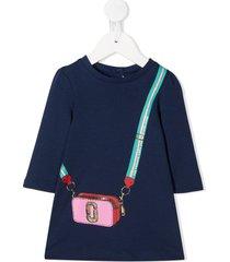 the marc jacobs kids crossbody bag print t-shirt dress - blue