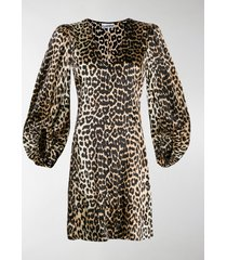 ganni leopard print mini dress