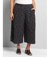 lane bryant women's knit kit pull-on wide leg capri 30/32 black dot